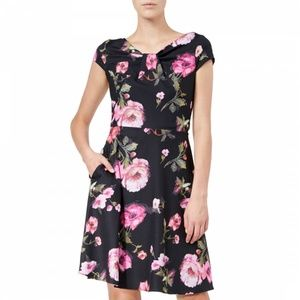 Adrianna Papell NWT Autumn Rose Draped Neck Dress